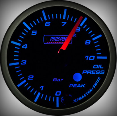 Prosport Racing Premium Series oil pressure 52 mm, blue-white, Smoked