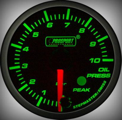 Prosport Racing Premium Series oil pressure 52 mm, green-white, Smoked