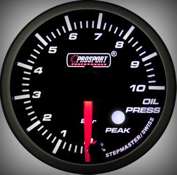 Prosport Racing Premium Series oil pressure 60 mm, blue-white, Smoked