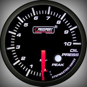 Prosport Racing Premium Series oil pressure 60 mm, green-white, Smoked