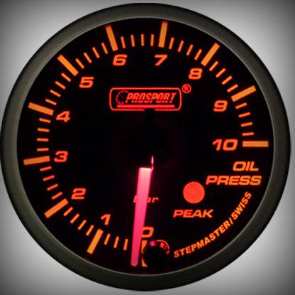 Prosport Racing Premium Series oil pressure 60 mm, orange-white, Smoked
