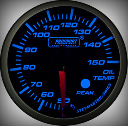 Prosport Racing Premium Series oil temperature 52 mm, blue-white, Smoked
