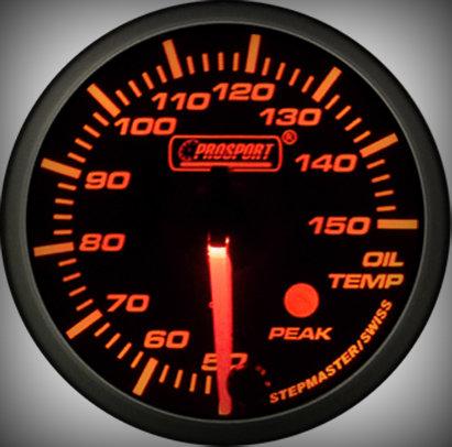 Prosport Racing Premium Series oil temperature 52 mm, orange-white, Smoked
