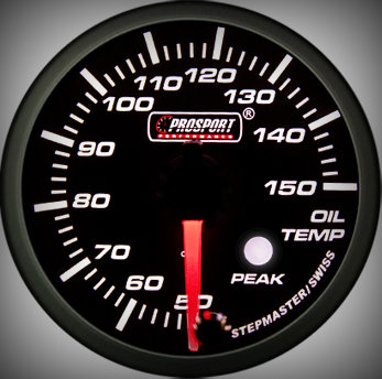 Prosport Racing Premium Series oil temperature 52 mm, green-white, Smoked