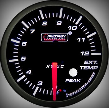 Prosport Racing Premium Series exhaust temperature 52 mm, blue-white, Smoked