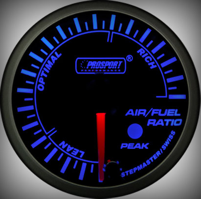 Prosport Racing Premium Series air/fuel ratio 52 mm, blue-white, Smoked