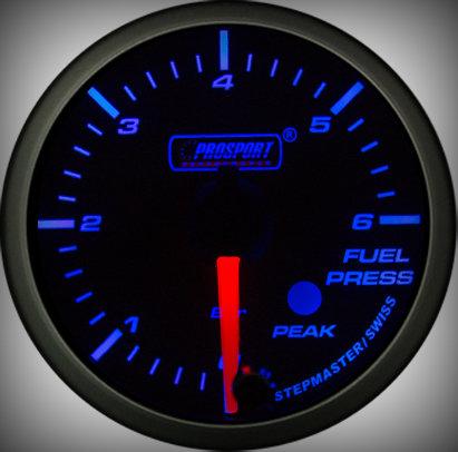 Prosport Racing Premium Series fuel pressure 52 mm, blue-white, Smoked