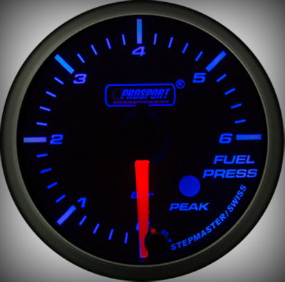 Prosport Racing Premium Series fuel pressure 60 mm, blue-white, Smoked