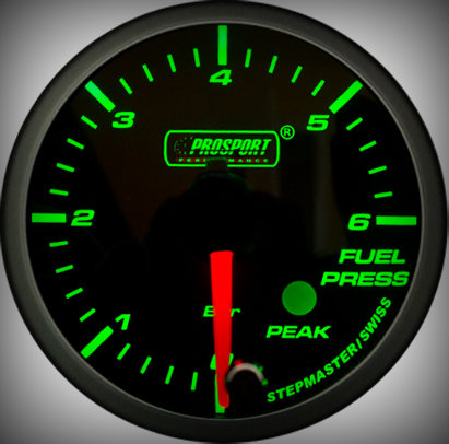Prosport Racing Premium Series fuel pressure 60 mm, green-white, Smoked