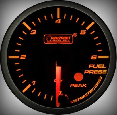 Prosport Racing Premium Series fuel pressure 60 mm, orange-white, Smoked