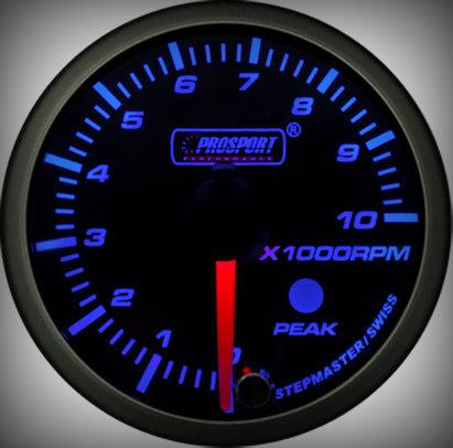 Prosport Racing Premium Series tachometer 52 mm, blue-white, petrol
