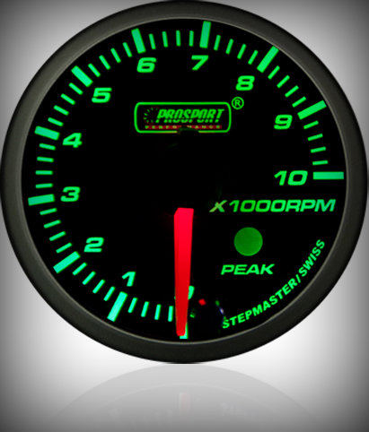 Prosport Racing Premium Series tachometer 52 mm, green-white, petrol