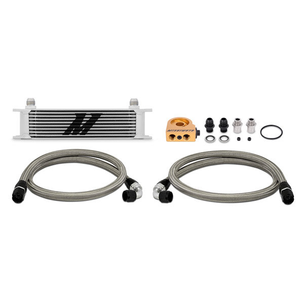 Mishimoto Oil Cooler Kit 10 row - universal silver with Thermostat