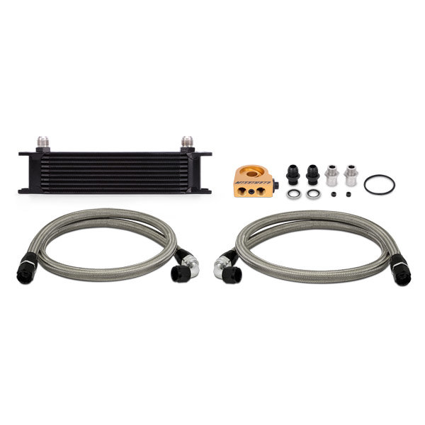 Mishimoto Oil Cooler Kit 10 row - universal black with Thermostat