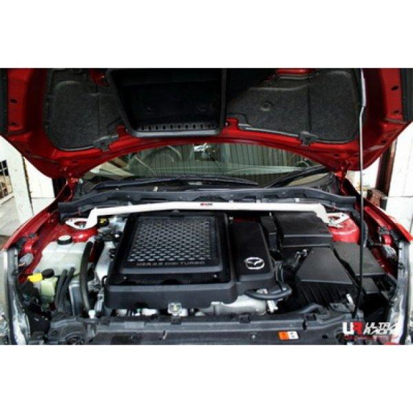 Ultra Racing Front Upper Strut Bar 2-Point - 10-13 Mazda 3 (MPS) (MZR 2.3) (2WD) (Hatchback)